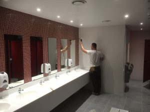 Sealant application in washroom